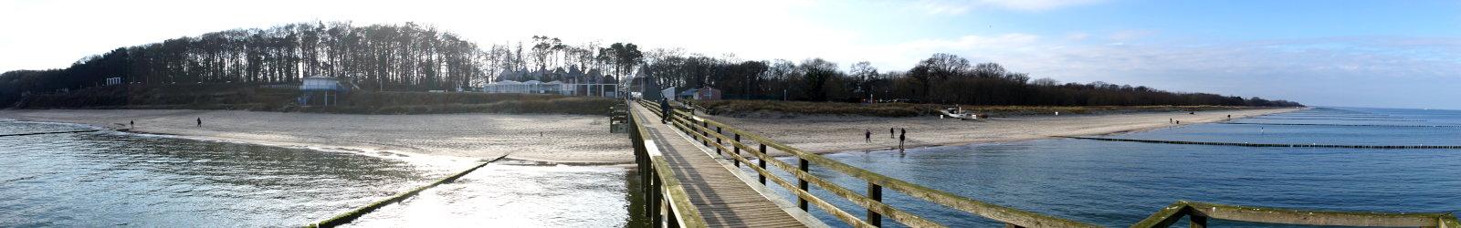 Ferienwohnung Koserow: Blick von der Seebrücke auf den Strand